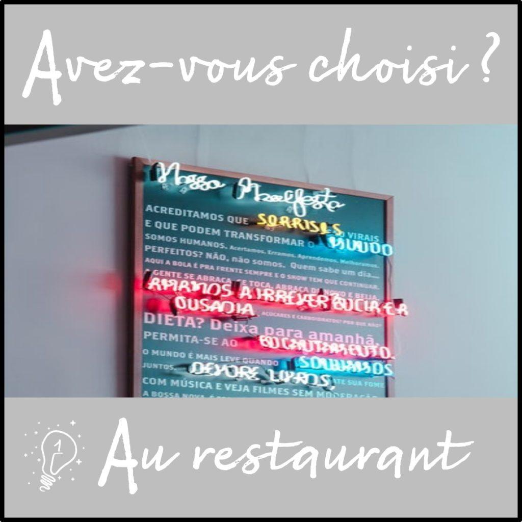 Avez-vous choisi ? Au restaurant (épisode 1)